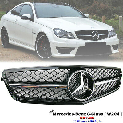 Front Chrome AMG Grille For Mercedes Benz W204 C-Class C280 C300 C350 2007-2014