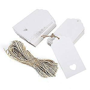 100 pcs White Kraft Paper Tag Blank for Wedding Favour Cards,Gift Tag,DIY Tag