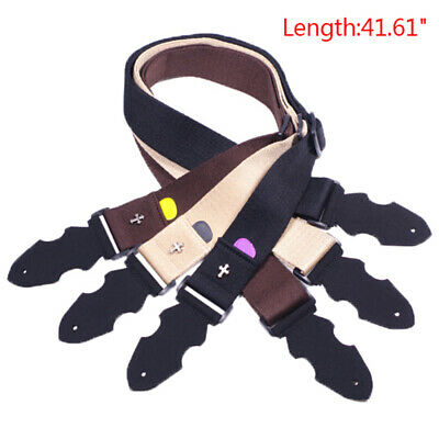 Cross PU Leather Ends Acoustic Electric Guitar Bass Adjustable Widen Belt Strap