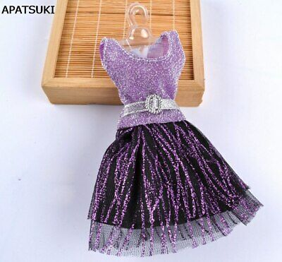 Casual Doll Clothes One Piece Patchwork Purple Glitter Short Dress For 1/6 Doll