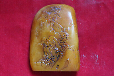 Exquisite China Old jade Handmade carving Fengshui Recruit money Ornament L33