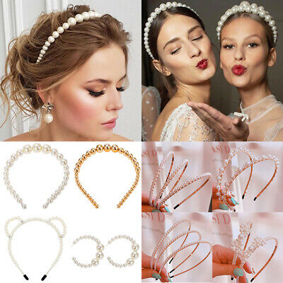 Luxury Big Pearl Headband Women Cat Ear Hairband Hoops Girls Hair Accessories