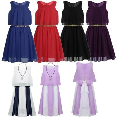 Girls Chiffon Popover Dress Birthday Party Sleeveless Casual Pleated Dress Gown