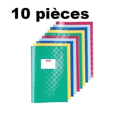 herlitz Lot de 10 Protèges-cahier A4, gaufré (raphia), en PP, couleurs assorties