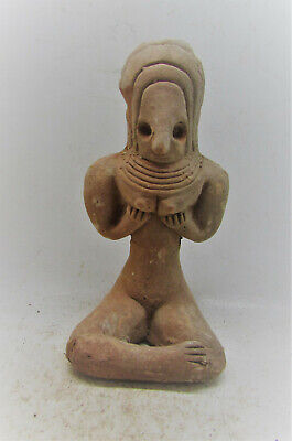 Circa 2200-1800Bce Ancient Indus Valley Terracotta Fertility Idol, Seated