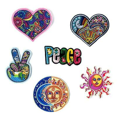 Hippie Love Bus Flowers peace Patch 60s Art Embroidered Iron Sew on Appliqu O6O3