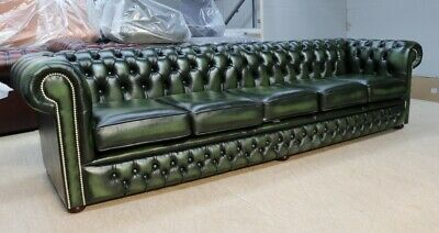 Chesterfield Tufted Buttoned 4 Seater Sofa Couch Real Vintage Green Leather Dbb