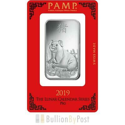 PAMP 1oz 2019 Year of the Pig Silver Bar