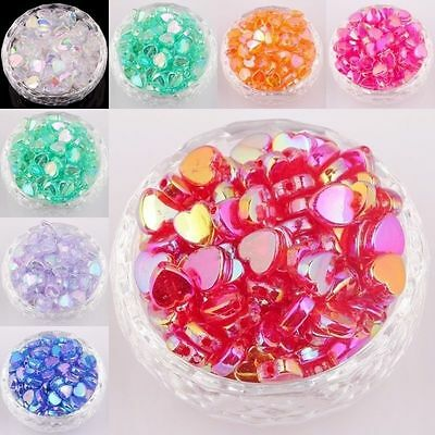 Wholesale AB Colors Acrylic Heart-Shaped Spacer Beads For Jewelry 8 / 9 mm IL