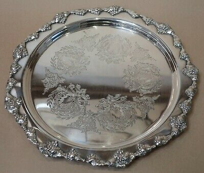 Beautiful Vintage Heavy Strachan Silver Plated Serving Tray