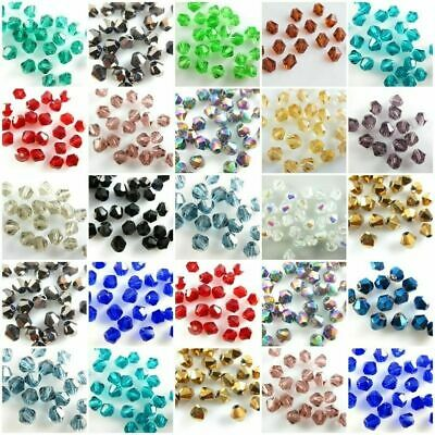 500Pcs Faceted Bicone Crystal Glass Beads Loose Jewelry Findings 4/6mm Beads Ih