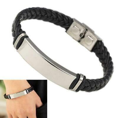 Fashion Stainless Steel Elegant Weave Leather Cuff Bracelet For Women And Men