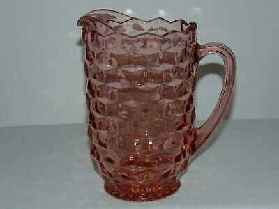 VINTAGE ANTIQUE 1930's ART DECO PINK DEPRESSION GLASS TALL WATER PITCHER JUG