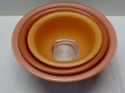 3 Pyrex Nesting Mixing Bowl Clear Bottoms AUTUMN PEACH COLORS 2.5, 1.5 & 1L
