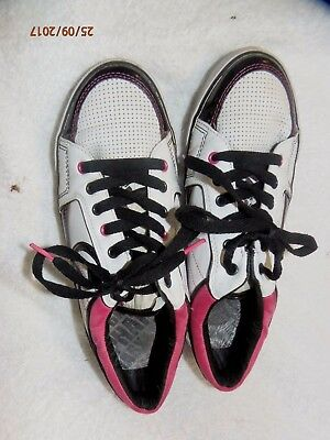 4b1473ad339 Womens Athletic shoes BABY PHAT WHITE LEATHER TENNIS SHOES pink TRIMS SZ 8M  EU
