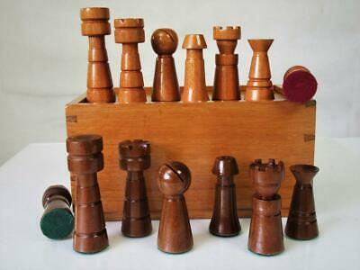 VINTAGE CHESS SET MODER ART MONO BLOC MID 20th CENTURY K 90 mm AND BOX NO BOARD