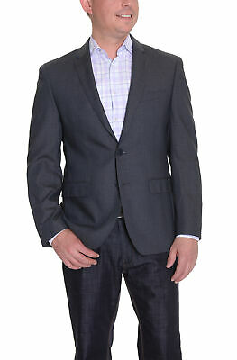 DKNY Mens Trim Fit Blue and Gray Houndstooth Two Button Wool Blazer Sportcoat