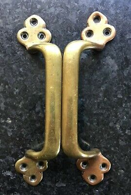 Good Quality Pair Of Antique Brass Arts And Crafts Drawer Or Door Handles