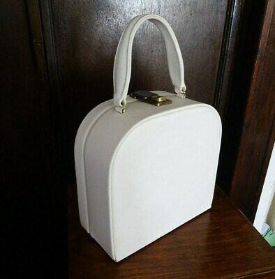 Vintage White 1960's Overnight Bag Vanity Case Art Deco Mid-Century Vinyl Retro