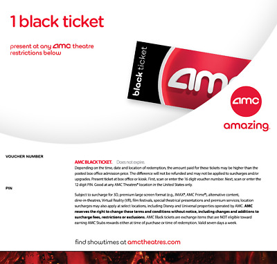 Amc Theatres 1 One Black Movie Ticket | Fast Digital Delivery! | No Expiration🎦
