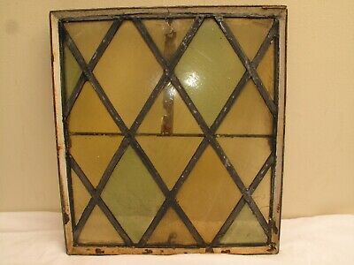 ANTIQUE STAINED GLASS WINDOW SLAG GREEN BOTTLE GLASS AMBER INDUSTRIAL VTG 1800s