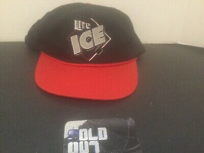 82ba3166210ee Vintage 90 s Miller Lite ICE Snapback Hat Black   Red Lite ICE Logo  Embroidered