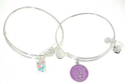 Disney Alex & Ani Bracelet Set of 2 Alice Wonderland We're All Mad Here Cheshire
