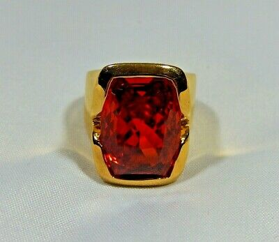 Huge Gold 925 Sterling Silver Cherry Red Rock Quartz Crystal Heavy Bold Ring S7