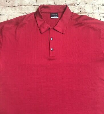 Men's Nike Golf Fit Dry Short Sleeve Textured Polo Shirt Red Large