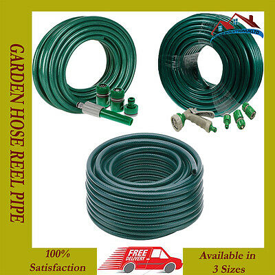 15M-30M-50M Reinforced Tough Garden Hose Reel Pipe Water Hosepipe Green