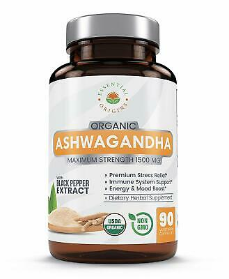 Ashwagandha Supplement Organic from Pure Root Powder & Black Pepper Extract