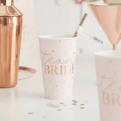 HEN PARTY Rose Gold Party CUPS x 8 Bride to Be Party Bridal Shower Team Bride