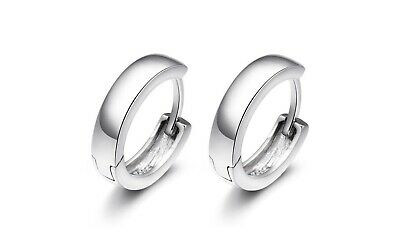 Unisex Woman Man 925 Sterling Silver Circle Hoop Tiny Ring Clip Earring 13mm