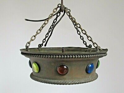 Antique Brass Hanging Light Lighting Fixture with Inset Convex Jewels