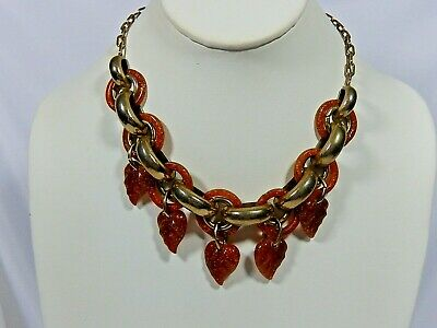 """VTG 30's 40's SPARKLE AMBER CARVED LUCITE CIRCLES & DRIPPY LEAVES 16.5"""" NECKLACE"""