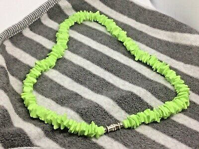 Green Puka Shell Necklace Surfer Beach Holidays Gift Hippy Boho Gift J179