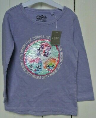 New Next 100% cotton girls 2 way sequin Shopkins top Lilac age 3  years