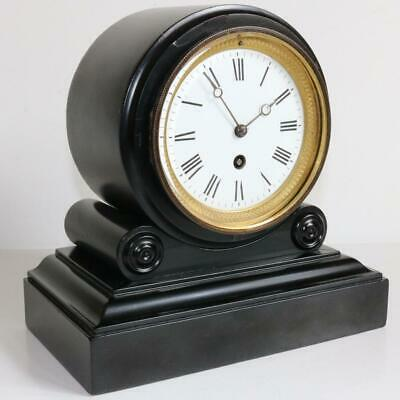 ANTIQUE FRENCH EBONY MANTEL CLOCK drumhead library timepiece, lovely small size