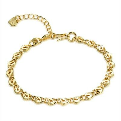 """Lady Gold Tone 316L Stainless Steel Snail Anklet Chain Bracelet Accessories 7.9"""""""