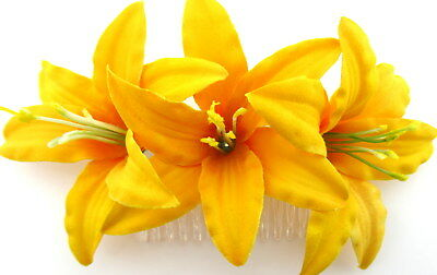 """Triple 3.5"""" Hot Yellow Lily Silk Flower Hair Comb,Pin Up,Updo,Rockabilly"""