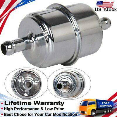 Barb Fittings Refor:9746 Chrome Material  Inline Canister Fuel Filter 3//8in