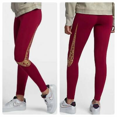 9bf5d420010c8 NEW NIKE Women's LEG A SEE Red & Metallic Gold FLORAL Legging Leggings  SMALL S