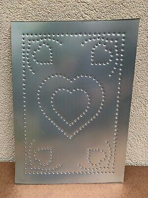 New Country Tin Metal  Punched  HEART  Cabinet Panel