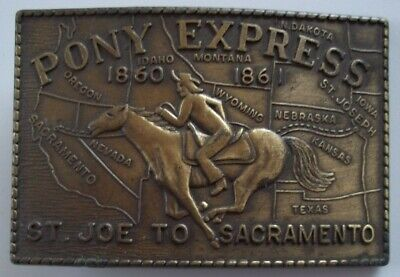 "Vintage PONY EXPRESS 1860 - 1861 BRASS Belt Buckle 3 1/2"" X 2 3/8"" St.Joe/Sacram"