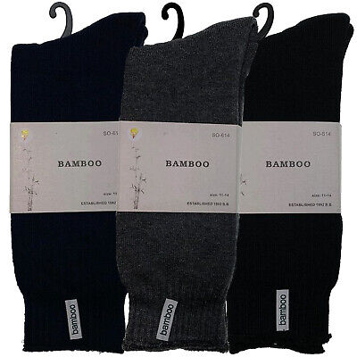 3 Pairs PREMIUM BAMBOO SOCKS Men's Heavy Duty Thick Work Socks BULK Cushion