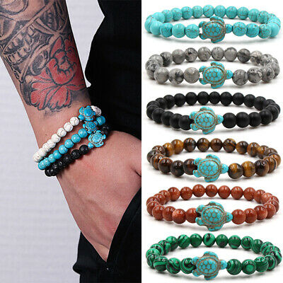 Charm Men Women Natural Stone Turquoise Beaded Turtle Bracelet Lucky Gifts Hot