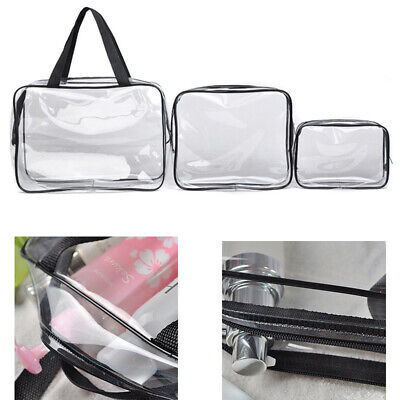 3PCS Clear Makeup Portable Waterproof Travel Pouch PVC Cosmetic Bag -S/M/L HOT