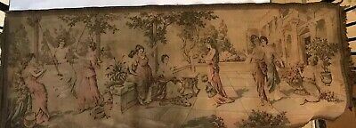 "Antique Italian Tapestry ""Pompeii"" Neoclassical Scene Women On Terrace"