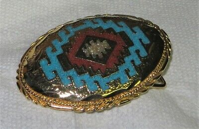 Vintage Oval Brass Belt Buckle with Abalone & Torquiose Inlay! Beautiful! Look!