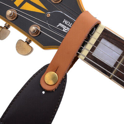 Leather Guitar Strap Holder Button Safe Lock Black for Acoustic Electric BSN
